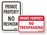 California No Trespassing Signs