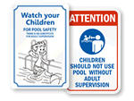 Pool Supervision Signs for Children