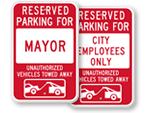 City Hall Reserved Parking Signs - by Title