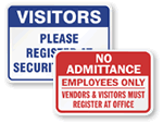 Visitors Must Register Signs