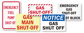 Gas Shut Off Signs