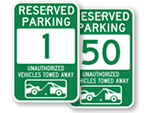 Green Reserved Parking Signs
