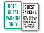 Hotel Guest Parking Signs