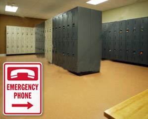 Emergency Locker Room Signs