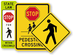 Pedestrian Parking Lot Signs