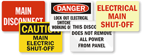 Main Disconnect Signs & Labels
