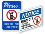No Cell Phones Allowed Signs