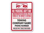 Tow Away Signs For California