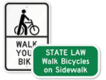 Walk Your Bike Signs