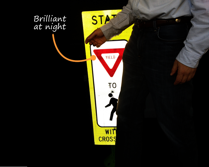 Brilliant at Night Pedestrian Signs
