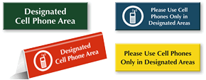Designated Cell Phone Area Signs