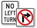 No Left or Right Turn Signs