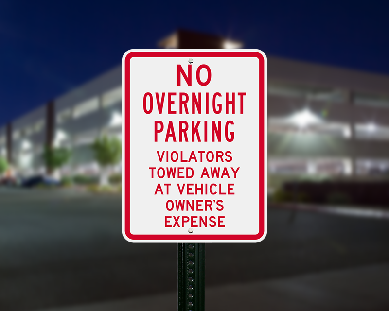 No overnight towed away parking signs
