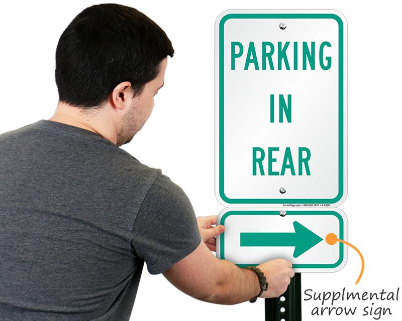 Parking arrow sign