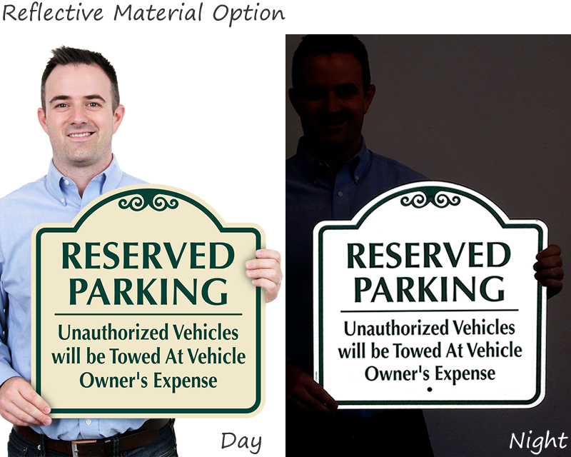 Reflective reserved parking signs