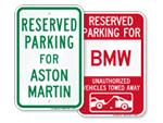 Reserved Parking Signs for Car Models