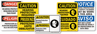 Bilingual Hearing Protection Signs
