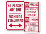 Bilingual No Parking Any Time Signs