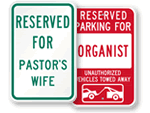 Church Reserved Parking Signs - by Title