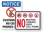 Customized No Cell Phone Signs