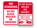 Do Not Block Mailbox Signs