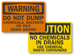 Do Not Dump Chemicals Signs