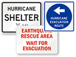 Earthquake Shelter Signs