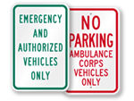 Emergency Vehicle & Ambulance Parking Signs