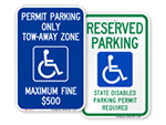 Handicapped Permit Required Signs