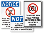 No Cell Phone In Locker Room Signs