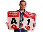 Red and Black Evacuation Assembly Signs