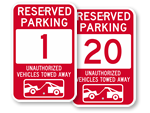 Red Reserved Parking Signs