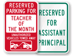 School Reserved Parking Signs - by Title