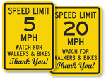 Bicycle Speed Limit Signs