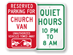 Church Time Limit Parking and Tow Away Signs