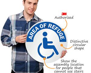 Circular aluminum area of refuge sign