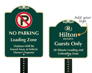 Designer loading zone signs