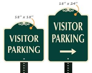 Designer visitor parking signs in two sizes