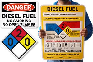 Diesel Fuel No Smoking Signs