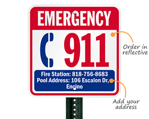 Emergency 911 sign