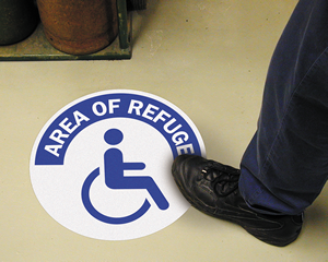 Area of refuge floor sign