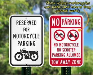 Motorcycle parking and no parking signs