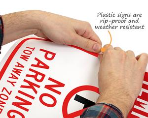 Plastic no parking sign