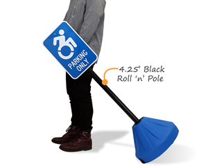 Portable Blue Roll 'n Pole Sign Base