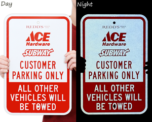 Reflective customer parking signs