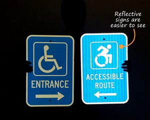 Reflective handicap accessible entrance sign