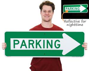 Parking arrow sign