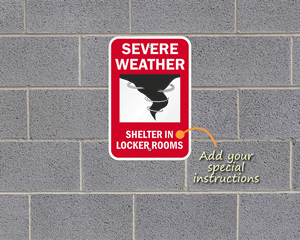 Severe weather shelter sign