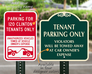 Tenant parking signs
