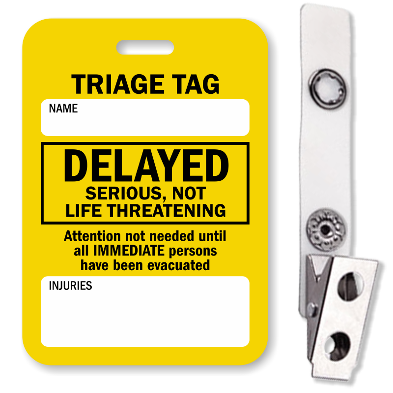 Delayed Serious, Not Life Threatening Triage Tag, SKU